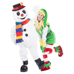 Frosty the snowman and elf