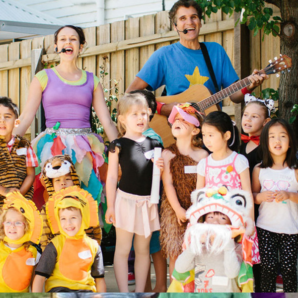 image of The Kazoos performing at a kids birthday party